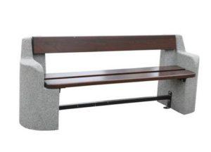 ławka betonowa z oparciem owalna